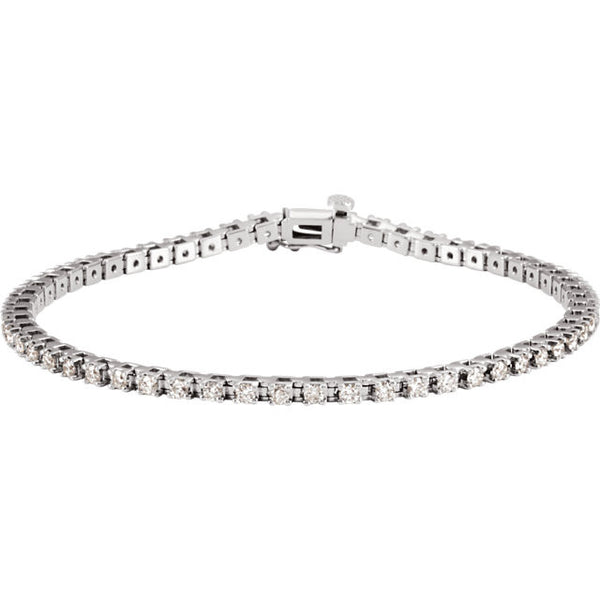 "(2 Carat) 14K White Gold Diamond Line Tennis Bracelet 7.25"" long (G/H color, I1 clarity)"