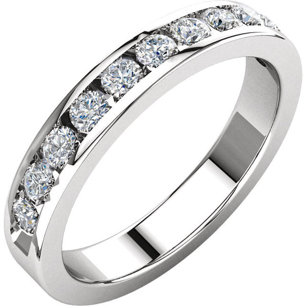 (0.50 Carat) 14K White Gold Diamond Wedding Band, Anniversary Ring (Color: H, Clarity: SI)