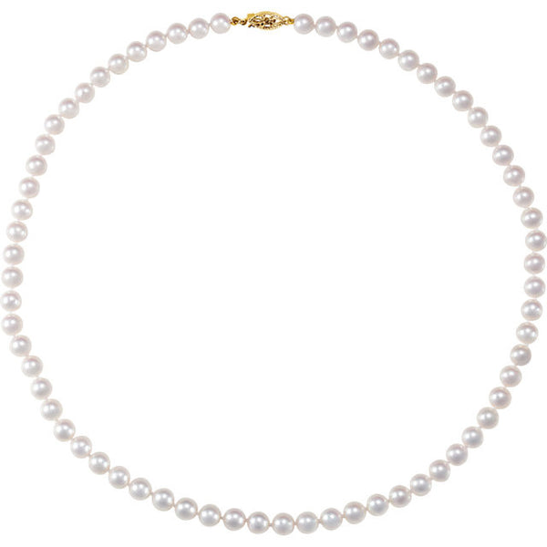 "14K Yellow Gold Cultured Akoya Pearl Necklace (18"") (6.0-6.5MM)"