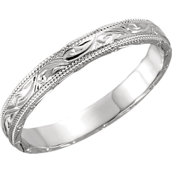14K White Gold Antique, Vintage Style Hand Engraved Wedding Band (3MM)