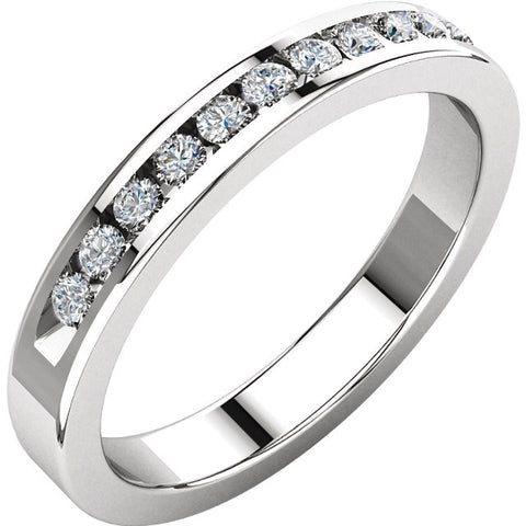 (0.25 Carat) 14K White Gold Diamond Anniversary Wedding Band (Color: G/H, Clarity: SI)