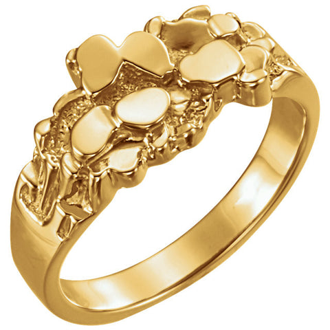 14K Yellow Gold Nugget Men's Ring (Size 10)