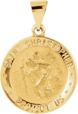 14K Yellow Gold 18.25mm Hollow Round St. Christopher Medal