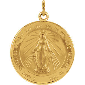 14K Pure Yellow Gold 20.5mm Miraculous Medal