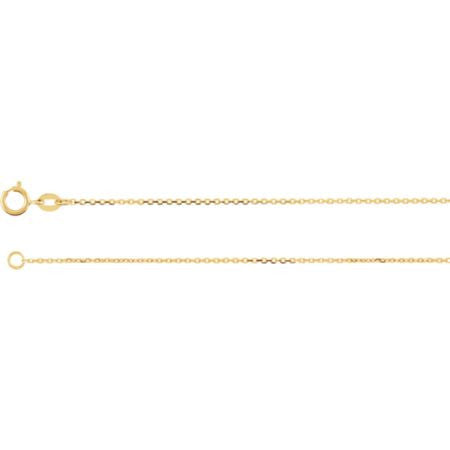 "14K Solid Gold Cable Chain Necklace (1.0MM) (18"")"