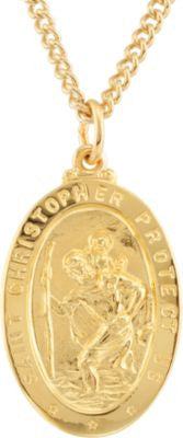 "24K Gold Plated 28.77x17.74mm St. Christopher Medal 24"" Necklace"