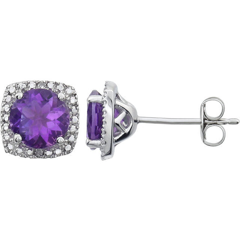 (1.5 Carat) Amethyst & (0.015 Carat) Diamond Accent Sterling Silver Stud Earrings