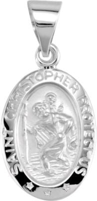 14K White Gold 15x11mm Oval St. Christopher Hollow Medal