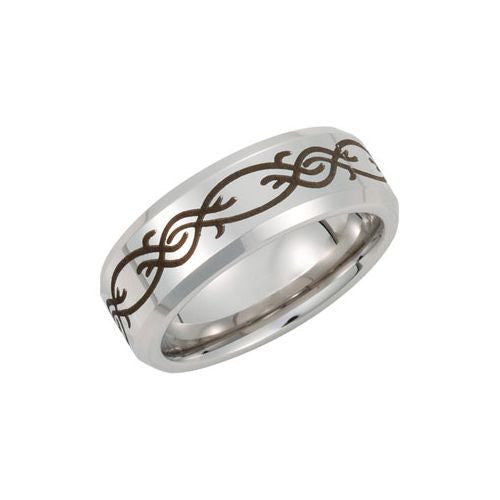 Cobalt Ring with Black Laser Engraved Vine Pattern