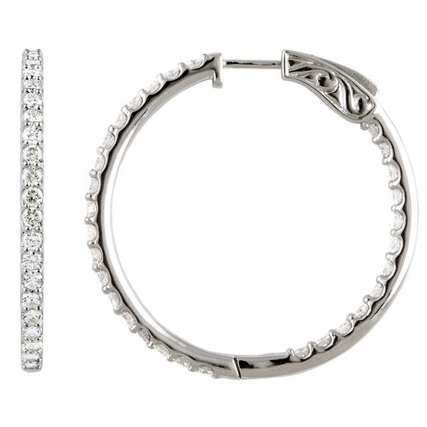"5.00 Carat Diamond Hoop Earrings in 14k White Gold - Color: H+, Clarity: I1 (1.75"" across)"