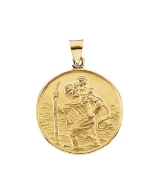 18K Yellow Gold 24.5mm St. Christopher Medal