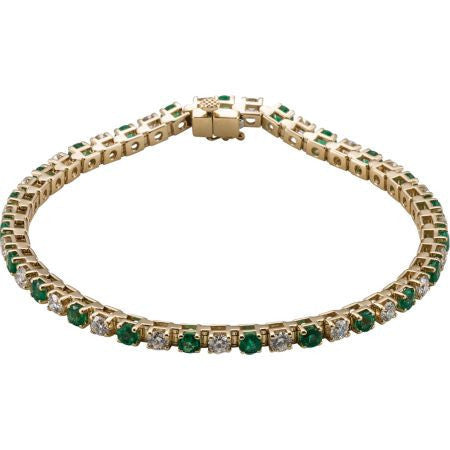 (2.30 Carat)14K Gold Emerald Diamond Line Tennis Bracelet