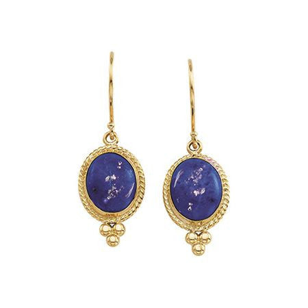14K Yellow Gold Earrings w/ Oval Lapis Lazuli Dangle (8 Carat) + Antique Style Gold Beading