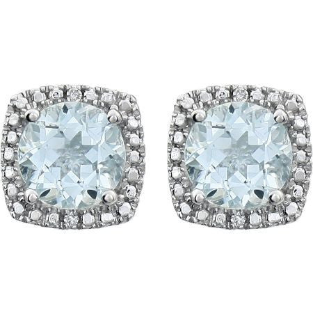 Sterling Silver Aquamarine + Diamond Stud Earrings