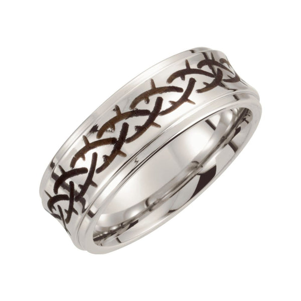 Cobalt Ring with Black Laser Engraved Tangle Pattern