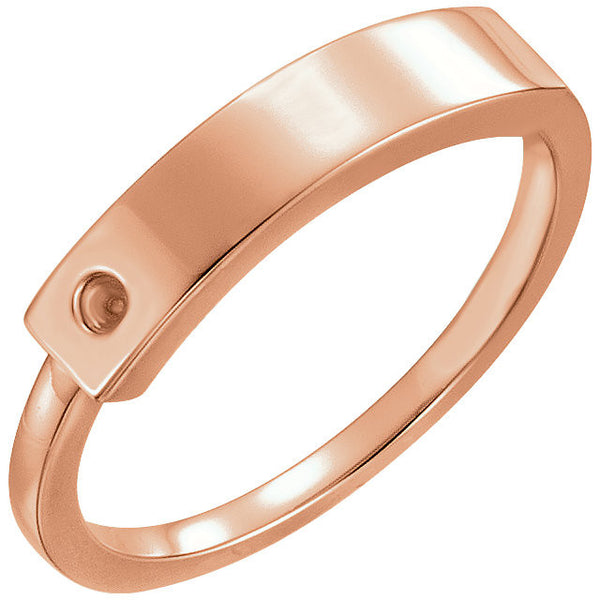 Solid 14K Modern Rose Gold Ring