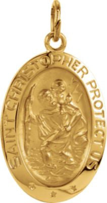 14K Yellow Gold 19x14mm Oval St. Christopher Medal