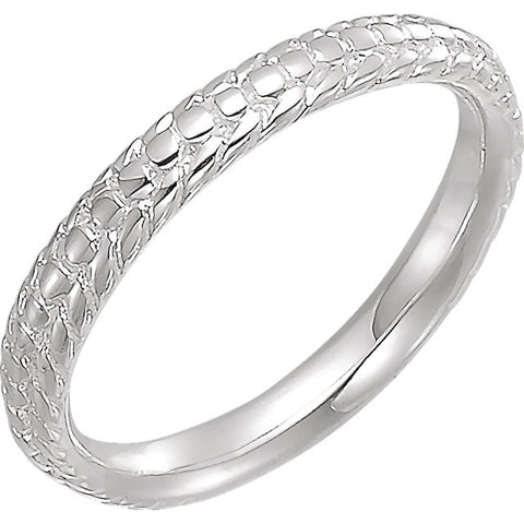 Women's Beaded Sterling Silver Stackable Ring