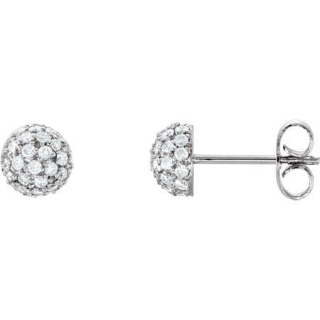 (.50 Carat) 14K White Gold Diamond Ball Earrings