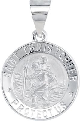 14K White Gold 15mm Hollow Round St. Christopher Medal