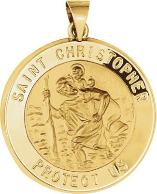 14K Yellow Gold 25.5mm Hollow Round St. Christopher Medal