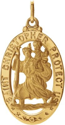14K Yellow Gold 21x15mm Oval St. Christopher Medal