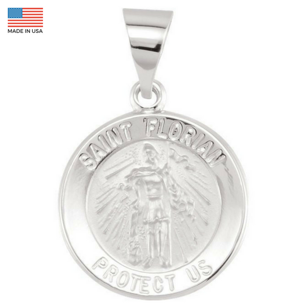 Pure 14k White Gold St. Florian (Patron Saint of Firefighters) Pendant Medal - 15MM
