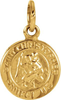 14K Yellow Gold 8mm St. Christopher Medal