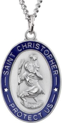 Sterling Silver 26x20mm St. Christopher Medal Necklace with Blue Epoxy