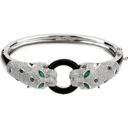 (2.30 Carat) 14K White Gold Panther Diamond and Emerald Black Onyx Cuff Bracelet
