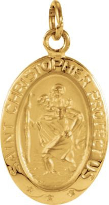 14K Yellow Gold 15x11mm Oval St. Christopher Medal