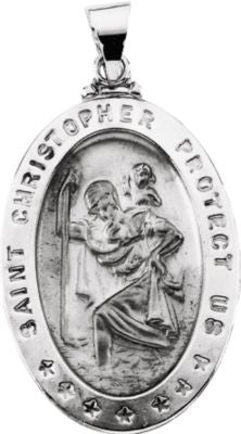 14K White Gold 28.75x20.00mm Hollow Oval St. Christopher Medal