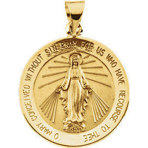 "18K Yellow Gold 21.75mm Miraculous Medal (5/6"")"