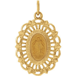 "14K Pure Yellow Gold 22x15.5mm Oval Filigree Miraculous Medal (approx. 1"" x 2/3"")"