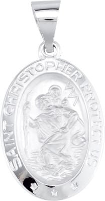 14K White Gold 19x13.5mm Oval St. Christopher Hollow Medal