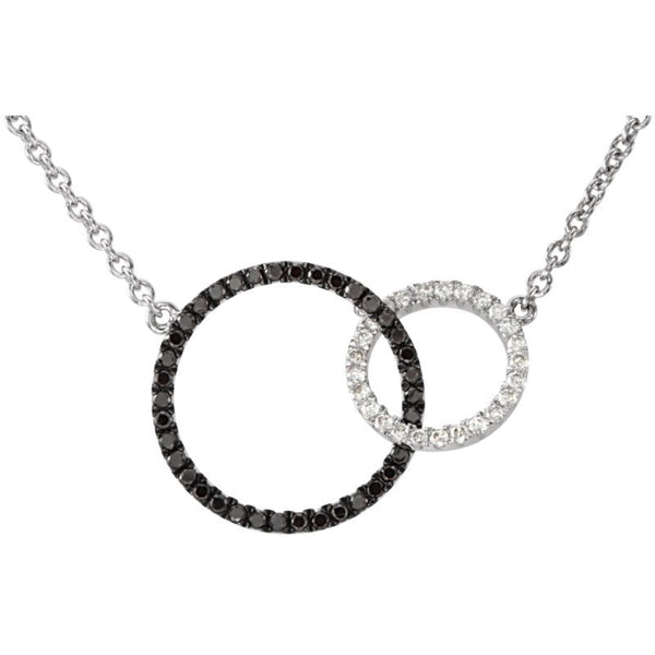"14K White Gold Necklace 1/3 CTW Black & White Diamond Circle 18""? Length"