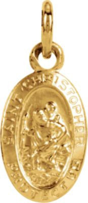 14K Yellow Gold 8.75x5.75mm Oval St. Christopher Medal