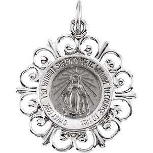 14K Pure White Gold 20 x 18mm Round Miraculous Medal