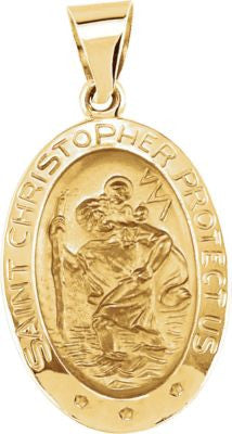 14K Yellow Gold 19x13.5mm Oval St. Christopher Hollow Medal