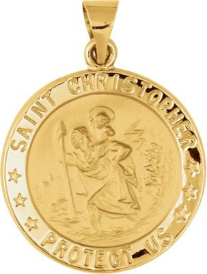 14K Yellow Gold 21.75mm Hollow Round St. Christopher Medal