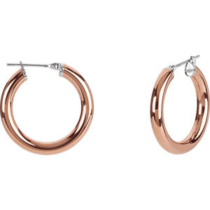 Stainless Steel Hoop Earrings w/ Rose Gold Plated Finish