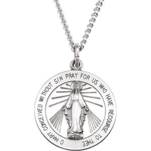 "Sterling Silver 22.25mm Miraculous Medal with 24"" Curb Chain"