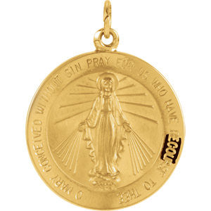 14K Pure Yellow Gold 21.75mm Miraculous Medal