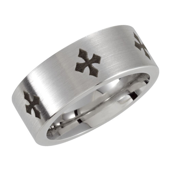 Pure Cobalt Silver Finish Ring w/ Black Laser Engraved Crosses