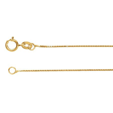 "14K Yellow Gold Box Link Chain Necklace (.55MM) (16"")"