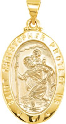 14K Yellow Gold 25.5x17.75mm Oval St. Christopher Hollow Medal