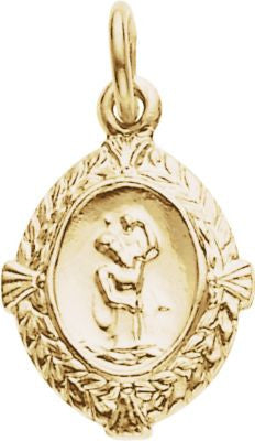 14K Yellow Gold 12x9mm St. Christopher Medal