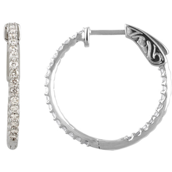 .75 Carat Diamond Hoop Earrings in 14k White Gold