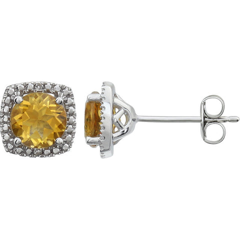 Sterling Silver Yellow Citrine (6 x 6mm Stones) & .015 CTW Diamond Stud Earrings