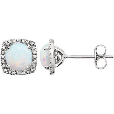 Sterling Silver Opal (6 x 6mm Stones) & .015 CTW Diamond Stud Earrings